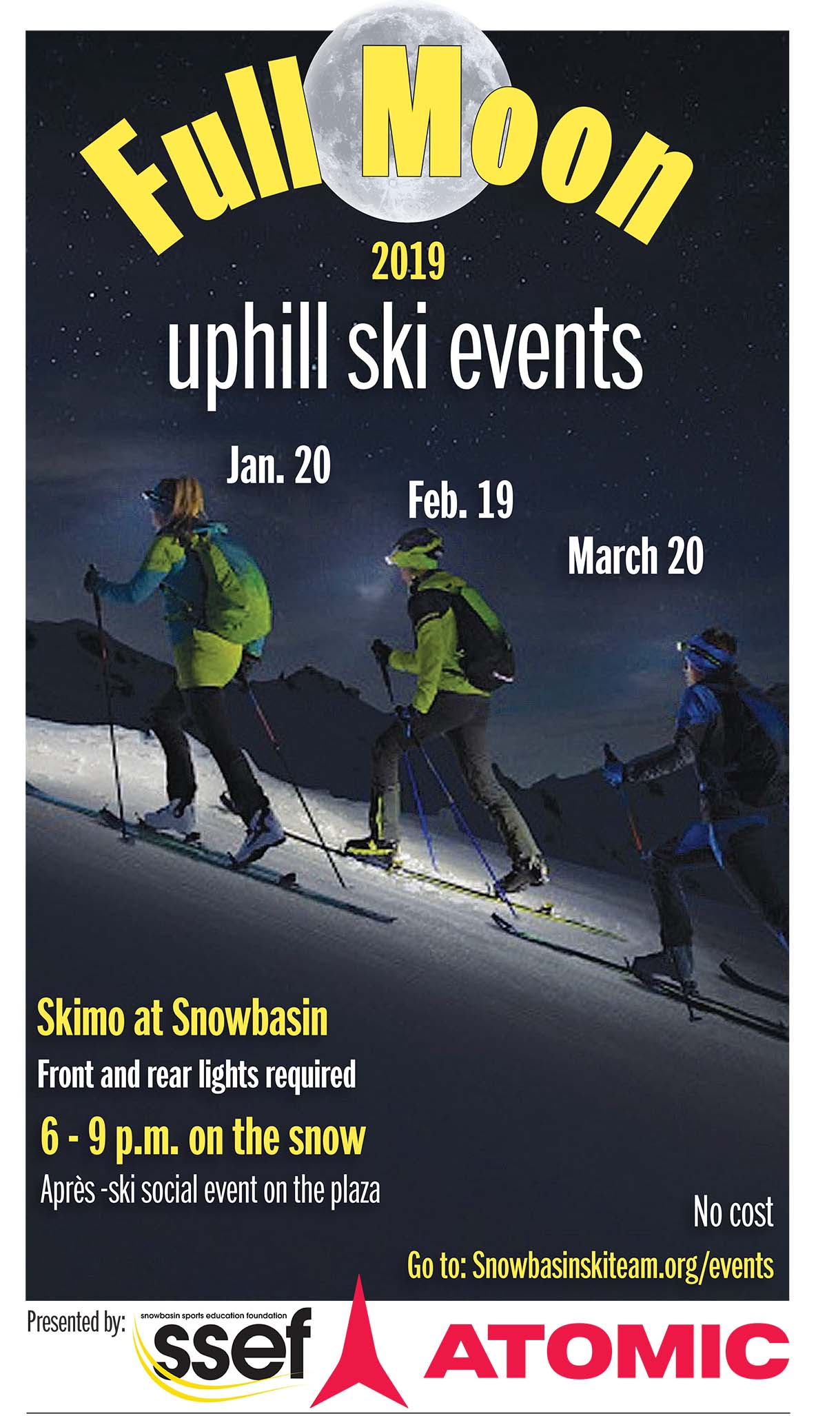 Full moon uphill ski event