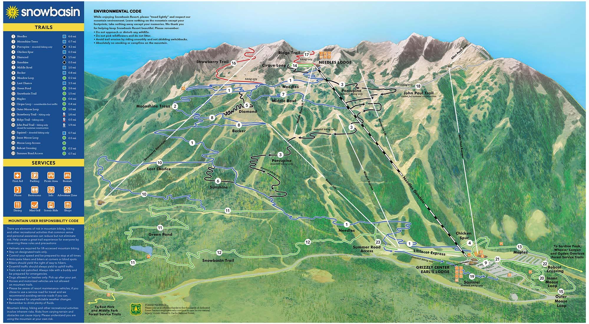 Snowbasin 2019 Summer Trail Map